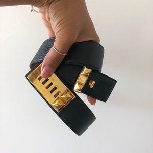 Black Medor Calfskin Leather Collier De Chien Belt